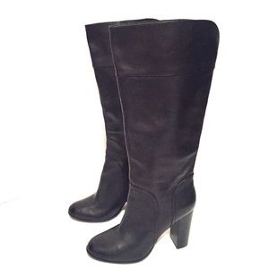 Halogen Black Leather Boots Riding Tall 8 1/2 M